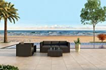 Hot Sale Urbana 3 Piece All-Weather Wicker Outdoor Sofa Set with Sunbrella Canvas Charcoal (54048-0000) Cushions