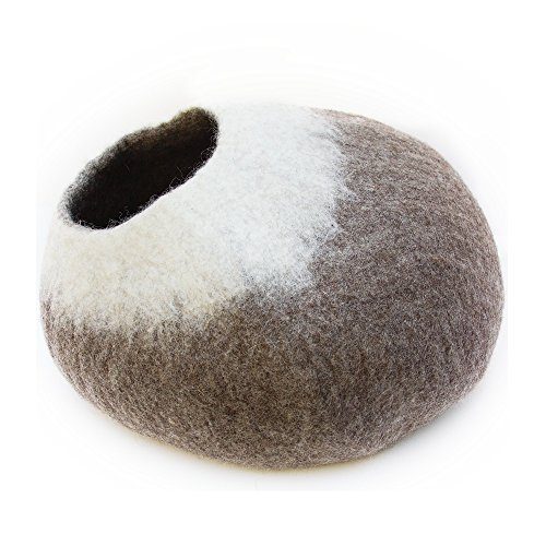 Kittycentric Cozy Cat Cave Bed - Handmade 100% Wool, Large (Brown/Cream)