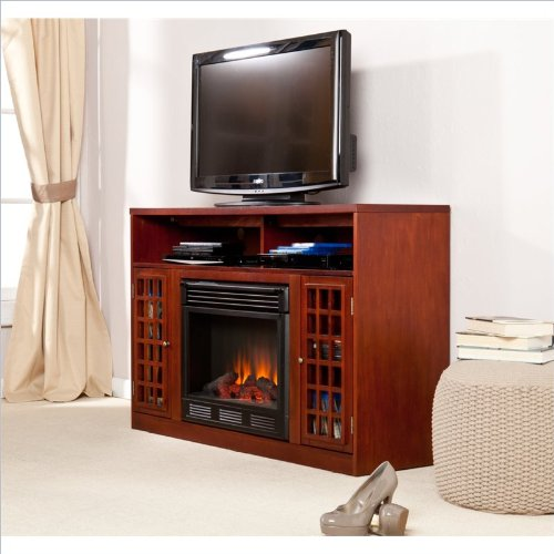Southern Enterprises Narita Media Mahogany Electric Fireplace photo B005ZO97A0.jpg