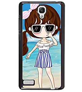 Printvisa Sweet With Sunglasses On A Beach Back Case Cover for Xiaomi Redmi Note::Xiaomi Redmi Note 4G