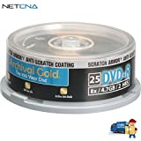 DVD-R Archival Gold Scratch Armor Recordable Disc Spindle Pack Of 25 And Free 6 Feet Netcna HDMI Cable - By NETCNA