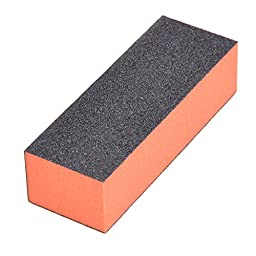 MAKIYO Nail File Buffer Sanding Block article sponge Nail Art Equipment (Black-Orange)