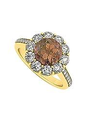 18K Yellow Gold Vermeil June Birthstone Smoky Quartz And Cubic Zirconia Halo Engagement Ring
