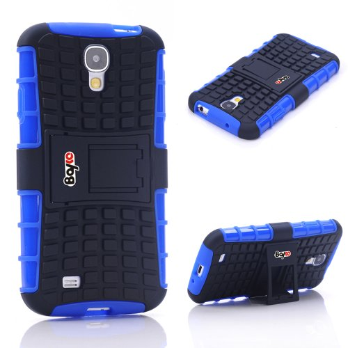 Bayke Brand / Samsung Galaxy S4 2-Piec Dual Layer Tire Tread Combo Heavy Duty Rugged Matte Skidproof Hard Protective Case Cover With Kickstand (Blue Tpu Inner)