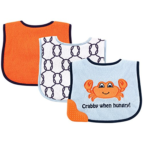 Luvable Friends 3 Piece Feeder Bibs with Teether Bib, Crab - 1