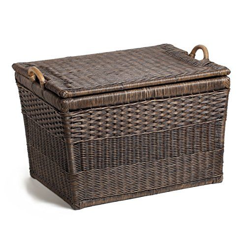 The Basket Lady Lift-off Lid Wicker Storage Basket, Large, Antique Walnut Brown (Wicker Basket With Lid And Handle compare prices)