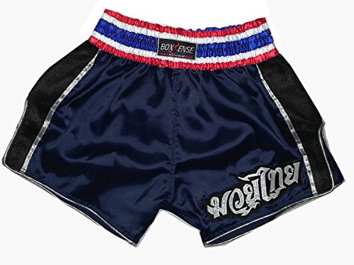Boxsense-Muay-Thai-Retro-Boxing-Shorts-BXSRTO-001-Navy