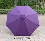 9ft Umbrella Replacement Canopy 8 Ribs in Purple (Canopy Only)
