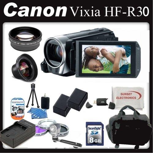 Canon Vixia HF-R30 (HFR30) Full HD Camcorder w/ Battery & Lens Deluxe Package - 5976B002