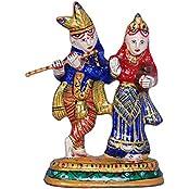 BRK Handicraft Metal Painted Radha Krishna Statue Hindu God Idol Hindu Divine Love Couple Figure Gift & Showpiece