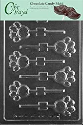Cybrtrayd A135 Paw Print Lolly Chocolate Candy Mold with Exclusive Cybrtrayd Copyrighted Chocolate Molding Instructions