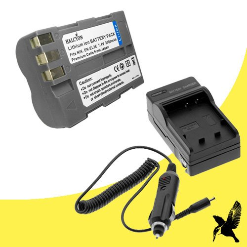 Halcyon 2000 mAH Lithium Ion Replacement Battery and Charger Kit for Nikon D50 6.1MP Digital SLR Camera and Nikon EN-EL3E