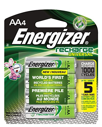 Energizer Recharge Universal 2000 mAh Rechargeable AA Batteries, Pre-Charged, 4 count (Energizer Battery Aa compare prices)