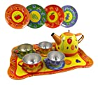 Fruit Garden Tin Tea Party Set for Kids - Metal Teapot and Cups Kitchen Playset