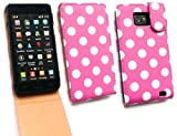 EMARTBUY SAMSUNG I9100 GALAXY S2 LUXURY FLIP CASE/COVER/POUCH POLKA DOTS HOT PINK AND LCD SCREEN PROTECTOR