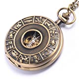 Mechanical vintage brass pocket watch pendant horoscope long chain necklace by 81stgeneration