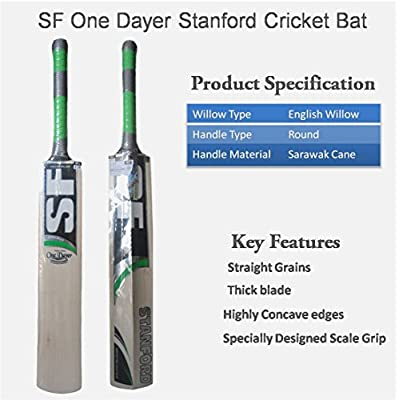 SF CRICKET BAT ENGLISH WILLOW ONE DAYER FULL SIZE WITH PADDED COVER