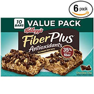 Fiber Plus Chewy Bars, Chocolate Chip, 10-Count Bars (Pack of 6) $16.13