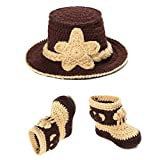 Jastore® Photography Prop Cute Cow Boy Knitted Crochet Costume Cap Shoes