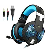 KOTION EACH G1000 Professional 3.5mm PC Gaming Headset Bass Stereo Headphones Earphones Headband with Mic Microphone Noise Isolation Over-ear for Laptop Computer (Black&Blue)