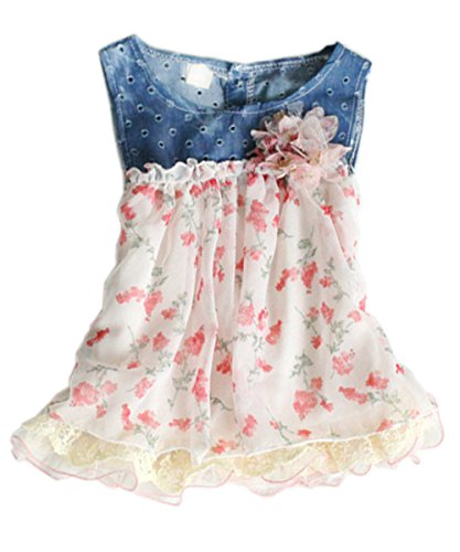 Toddler Baby Girls Dress Denim Chiffon Flower Dress Kids Sun Dress Dress Clothes (0-6 month)