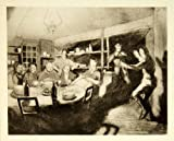 1921 Rotogravure William Orpen Art WWI Christmas Night Cassel France Dance Party - Original Rotogravure