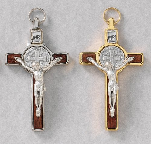 Saint Benedict Crucifix in Silver Brown or Gold Brown - 3'' in Height - MADE IN ITALY, Silver Brown