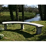 Large Garden Benches - Double Length Ivy Curved Stone Bench