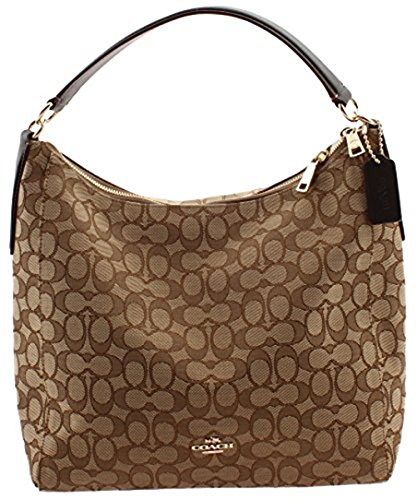 Coach Singature Hobo Crossbody Bag Handbag Purse, Khaki / Brown