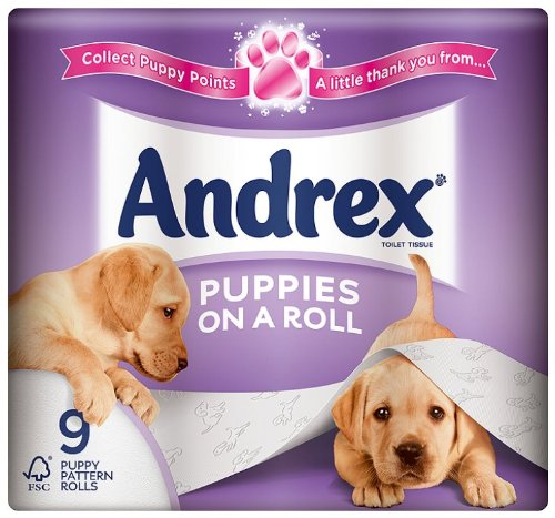 Andrex Puppies on a Roll 9 Roll Toilet Tissue 210 Sheets (Pack of 5)