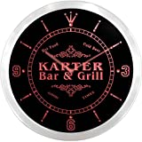 ncu22679-r KARTER Family Name Bar & Grill Cold Beer Neon Sign LED Wall Clock