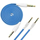iTALKonline BLU Studio 5.0 E SKY BLUE FLAT 3.5mm Gold Plated Jack to Jack Male AUX Auxiliary Stereo Jack Cable Lead Wire