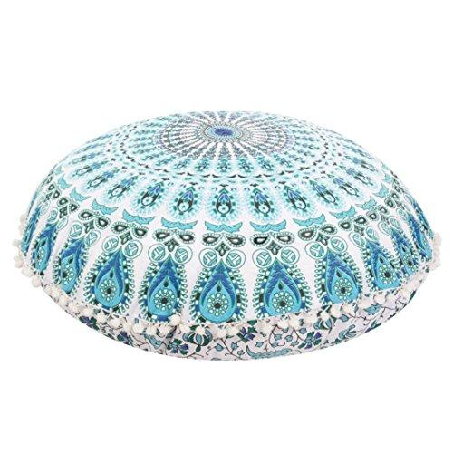 Ikevan® Large Mandala Floor Pillows Round Bohemian Meditation Cushion Cover Ottoman Pouf(80*80cm