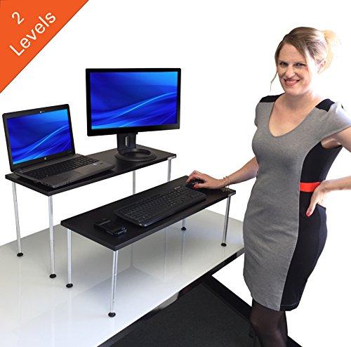 Award-Winning Latitude Standing Desk - 2 level nesting desk converts your desk to a Stand up Desk!