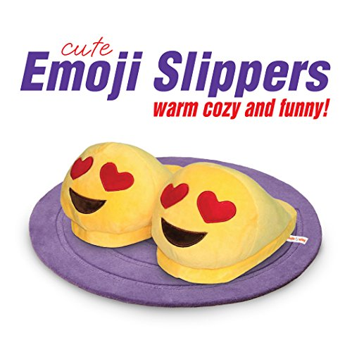 Emoji Slippers - Cartoon Cute Smiley Faces - Warm Cozy Soft and Funny Comfort - Slip Grip Bottoms Slipper