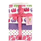 Luvable Friends 4 Count Flannel Receiving Blanket Set, Pink Elephant (Discontinued by Manufacturer)