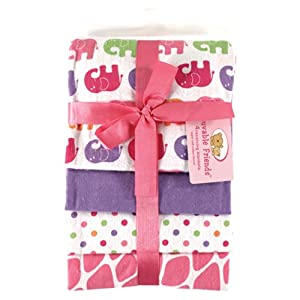 Luvable Friends 4 Count Flannel Receiving Blanket Set, Pink Elephant