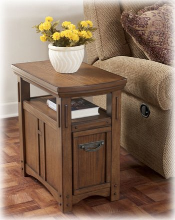 Cheap Burnished Brown Chair Side End Table by Ashley Furniture (T889-7)