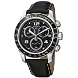 TISSOT V8 T0394171605702 GENTS BLACK LEATHER STAINLESS STEEL CASE DATE WATCH