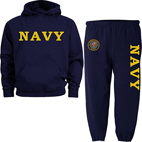 yellow US Navy navy blue hoodie SWEATSUIT large (United States Navy Sweatshirt compare prices)