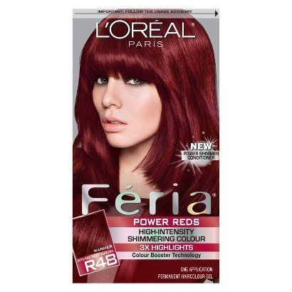 L'Oréal® Paris Feria Shimmer with Multi-faceted Permanent Color (Power Reds r48 Intense Deep Auburn) (Feria Power Shimmer Conditioner compare prices)