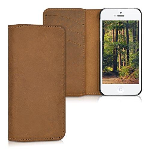 kalibri-Echtleder-Tasche-Hlle-fr-Apple-iPhone-SE-5-5S-Case-mit-Fchern-und-Stnder-in-Cognac