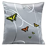 Lama Kasso Butterflies and Scrolls on Silver Grey Satin 18-Inch Square Pillow, Design on Both Sides