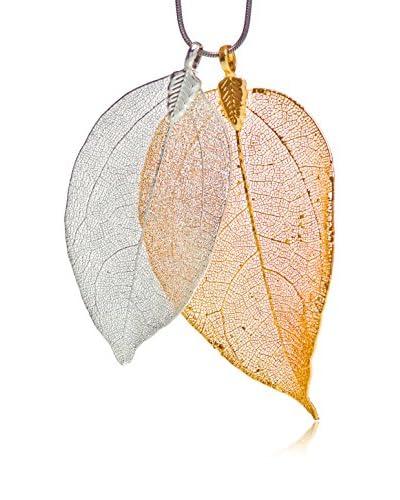 Ana Natural Leaves Conjunto 18 Oro / Plata