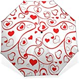 BAIHUISHOP 3 Folding Parasol Sun Protection Anti-UV Sun And Rain Umbrellas Heart Pattern Windproof Tested Compact...