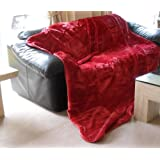 Mink Throw Faux Fur Blanket - 200 x 240cm - Red