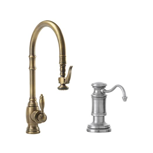 Waterstone 5600-2-SN Annapolis Kitchen Faucet Single Handle with Pull Out Spray, Soap/Lotion Dispenser, Air Gap and Air Switch, Satin Nickel