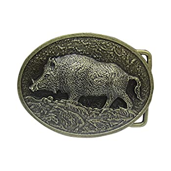 E-Clover Designer Bronze Wild Boar Western Belt Buckle for Men