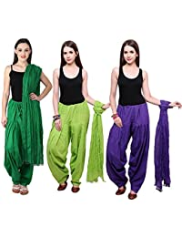 Fashion Store Combo Of Womens Solid Cotton Green Parrot Green And Blue Best Ethnic Comfort Punjabi Patiala Salwar...