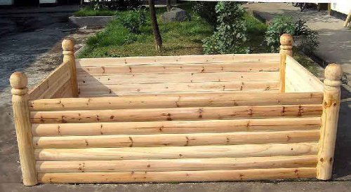 Master Garden Products 4-Posts Cedar Log Wood Raised Bed With Ball Finials, 4 X 6 X 2-Feet